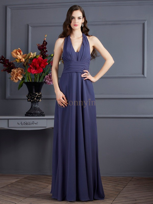 Grey Chiffon Halter A-Line/Princess Floor-Length Dresses
