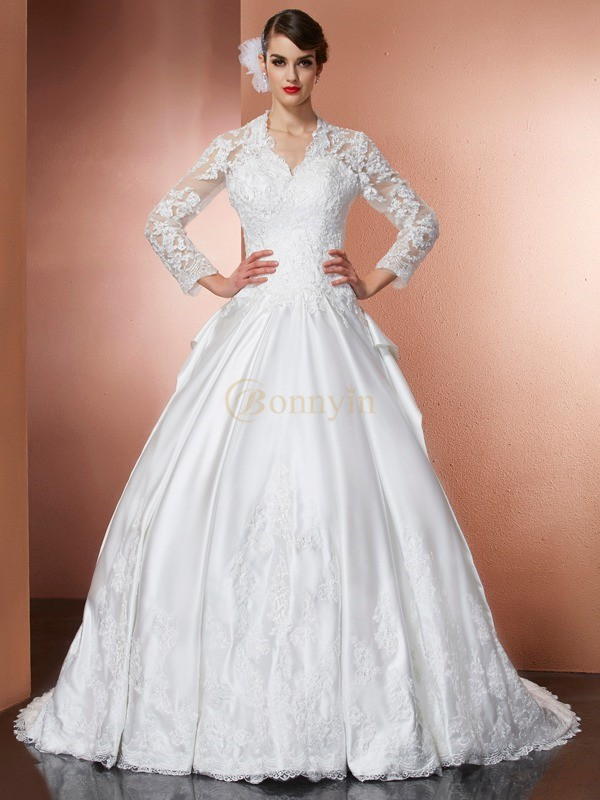 Ivory Satin V-neck A-Line/Princess Cathedral Train Wedding Dresses