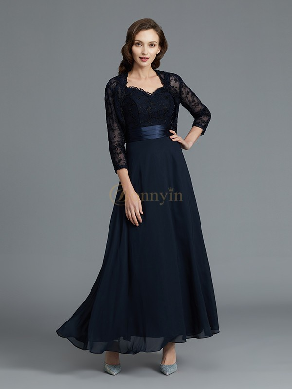 Dark Navy Chiffon Sweetheart A-Line/Princess Ankle-Length Mother of the Bride Dresses