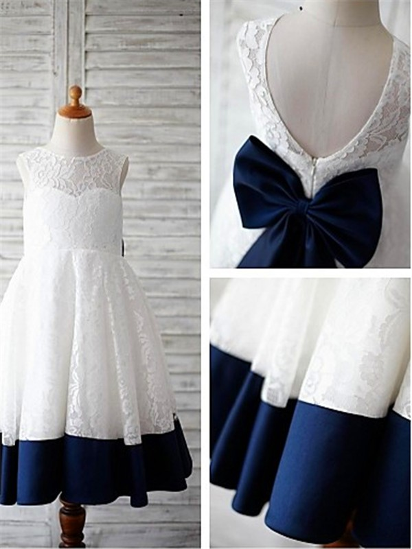 Dark Navy Lace Scoop A-line/Princess Floor-Length Flower Girl Dresses