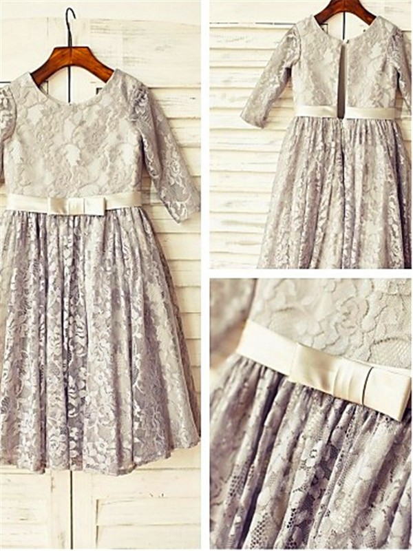 Silver Lace Scoop A-line/Princess Floor-Length Flower Girl Dresses