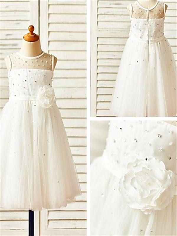 White Tulle Scoop A-line/Princess Tea-Length Flower Girl Dresses
