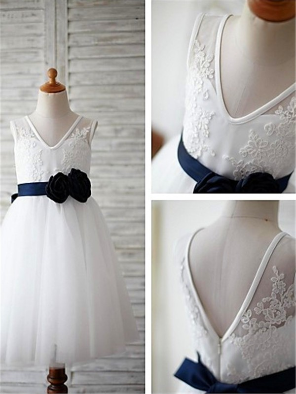 White Tulle V-neck A-line/Princess Floor-Length Flower Girl Dresses