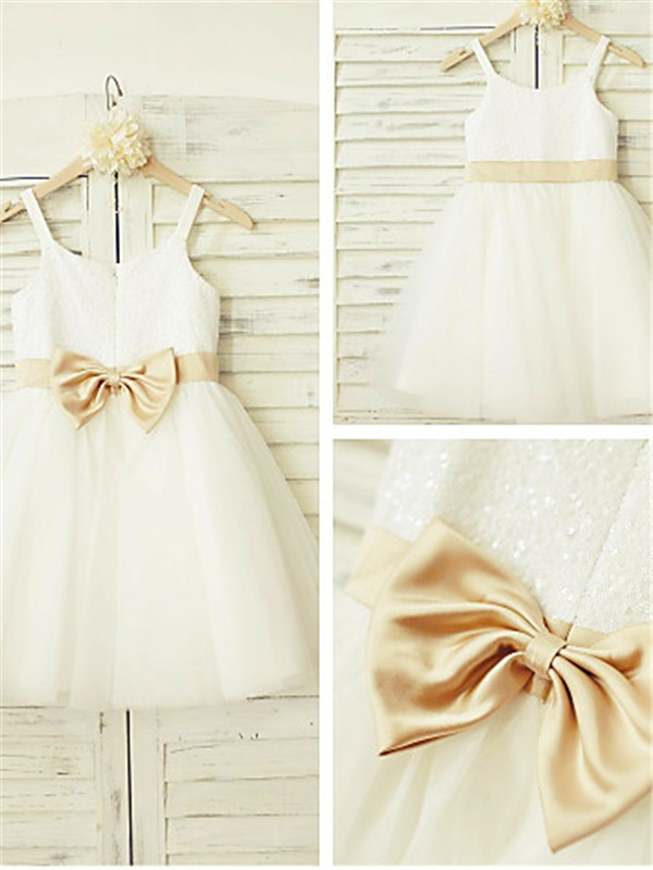 White Tulle Spaghetti Straps A-line/Princess Knee-Length Flower Girl Dresses