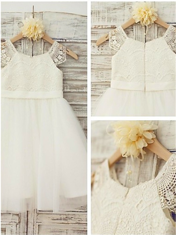 White Tulle Scoop A-line/Princess Floor-Length Flower Girl Dresses