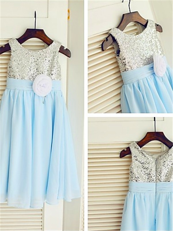 Light Sky Blue Chiffon Scoop A-line/Princess Tea-Length Flower Girl Dresses