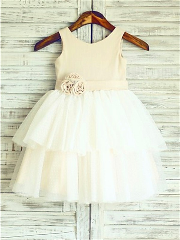 Champagne Tulle Straps A-line/Princess Tea-Length Flower Girl Dresses