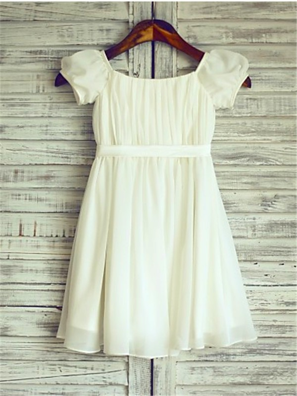 Ivory Chiffon Square A-line/Princess Tea-Length Flower Girl Dresses