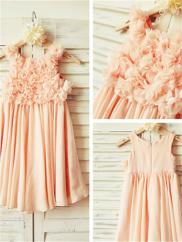 Pink Chiffon Straps A-line/Princess Floor-Length Flower Girl Dresses