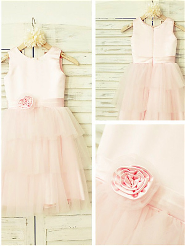 Pearl Pink Tulle Scoop A-line/Princess Floor-Length Flower Girl Dresses
