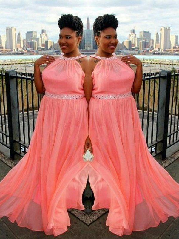 Watermelon Chiffon High Neck A-Line/Princess Sweep/Brush Train Plus Size Dresses