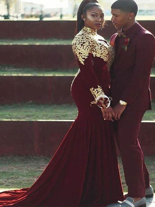 Burgundy Velvet High Neck Trumpet/Mermaid Court Train Plus Size Dresses