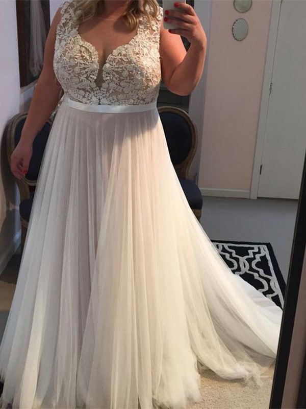 Ivory Tulle Straps A-Line/Princess Sweep/Brush Train Plus Size Dresses