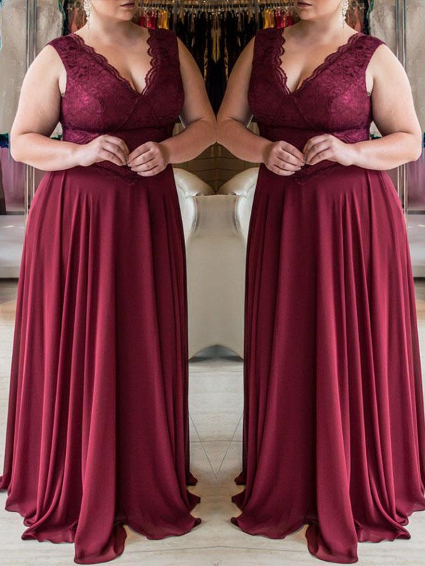 Burgundy Chiffon V-neck A-Line/Princess Sweep/Brush Train Plus Size Dresses