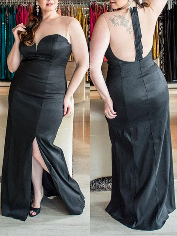 Black Elastic Woven Satin Sweetheart Sheath/Column Floor-Length Plus Size Dresses
