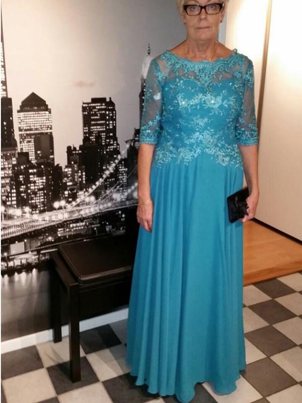 Blue Chiffon Sheer Neck A-Line/Princess Floor-Length Mother of the Bride Dresses
