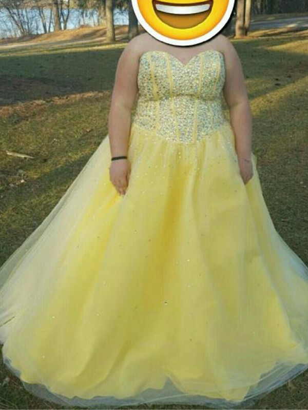 Yellow Tulle Sweetheart A-Line/Princess Floor-Length Plus Size Dresses