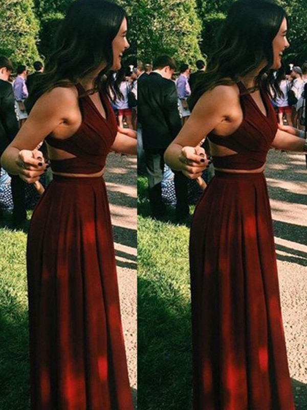 Burgundy Chiffon Halter A-Line/Princess Floor-Length Prom Dresses