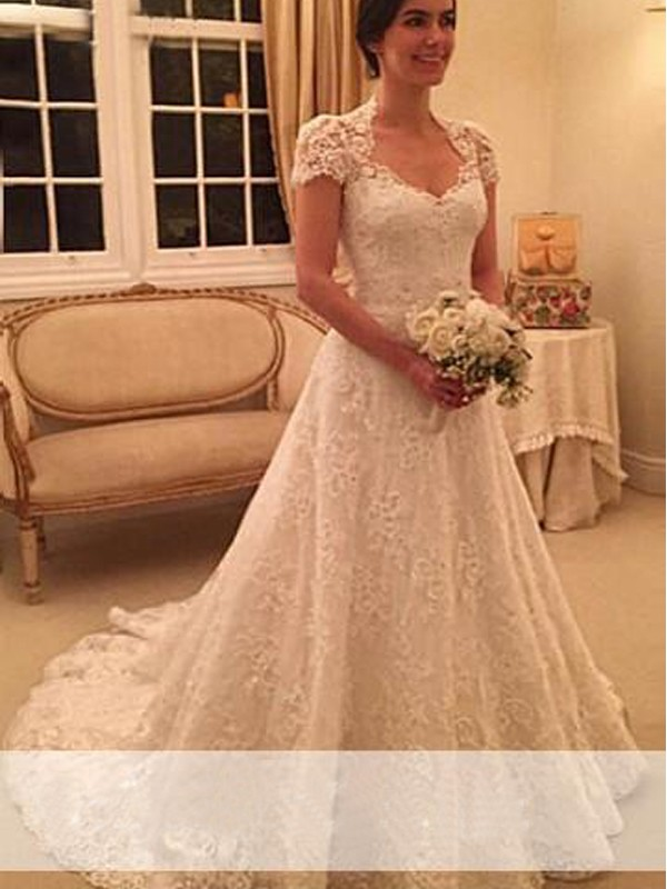 White Lace Sweetheart A-Line/Princess Court Train Wedding Dresses