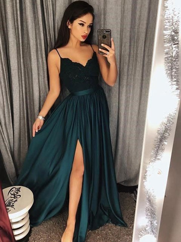 Dark Green Silk like Satin Spaghetti Straps A-Line/Princess Floor-Length Dresses