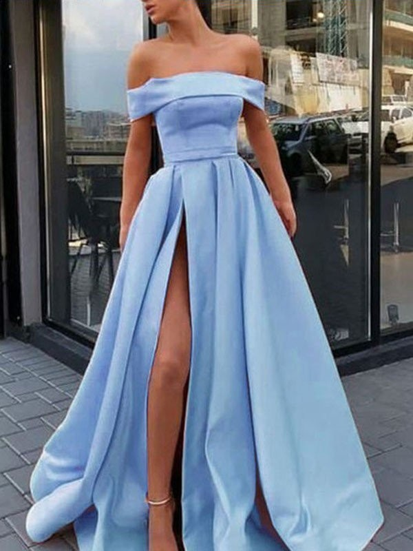 Light Sky Blue Satin Off-the-Shoulder A-Line/Princess Sweep/Brush Train Dresses