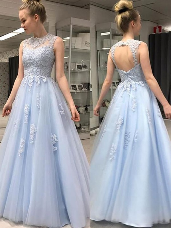 Light Sky Blue Tulle Sheer Neck A-Line/Princess Floor-Length Dresses