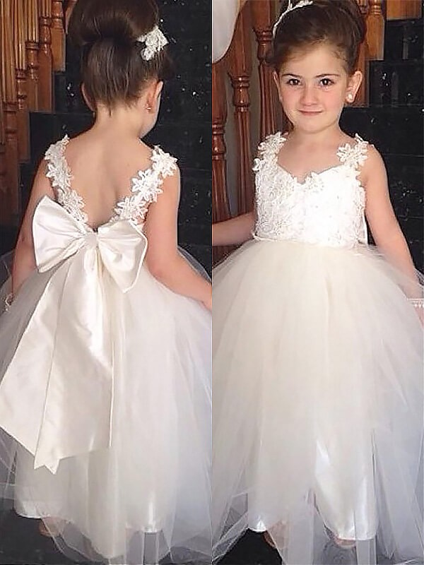 Ivory Tulle Sweetheart Ball Gown Floor-Length Flower Girl Dresses