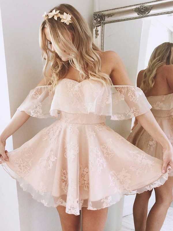 Pink Lace Off-the-Shoulder A-line/Princess Short/Mini Homecoming Dresses
