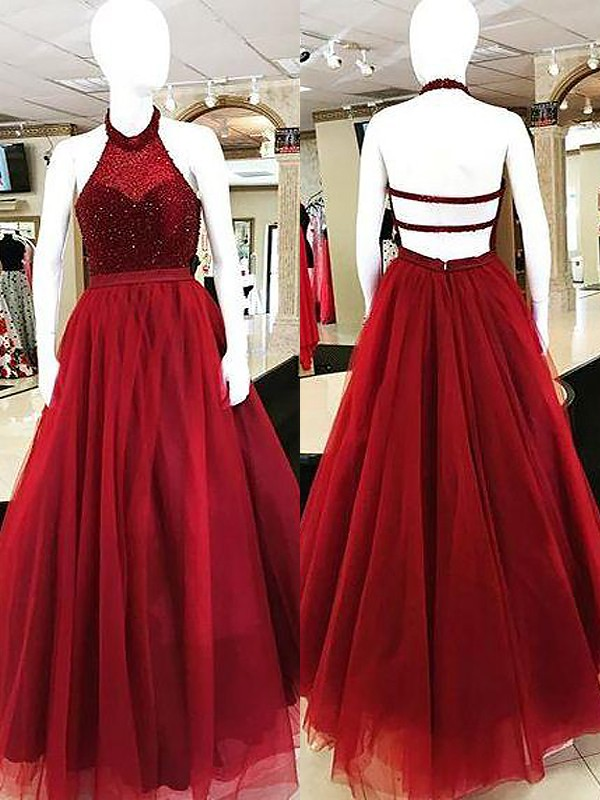Burgundy Tulle Halter Ball Gown Floor-Length Dresses