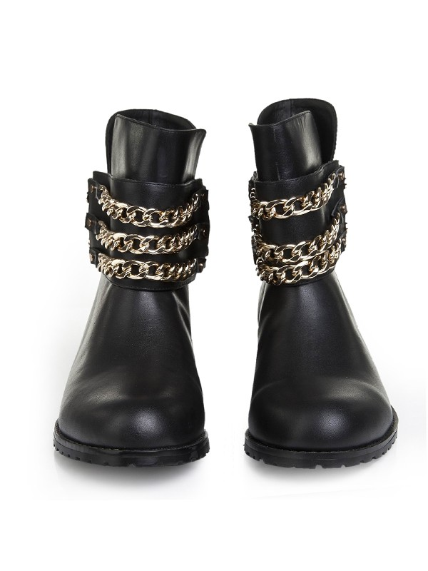 Bonnyin Black Cattlehide Leather Iron Chain Boots