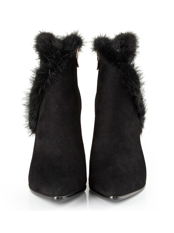 Bonnyin Black Suede Rhinestones Pointed Toe Boots