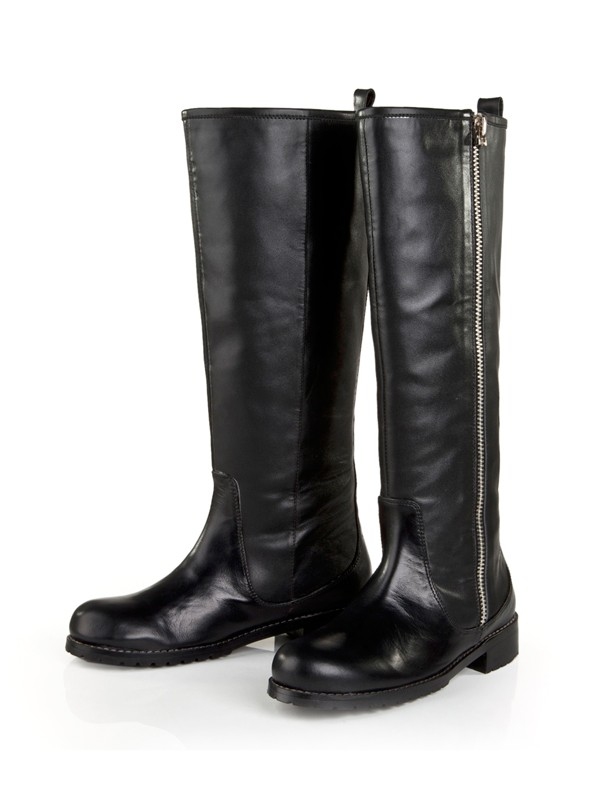 Bonnyin Black Cattlehide Leather Boots