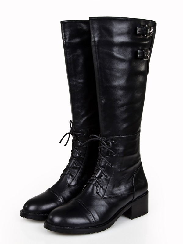 Bonnyin Black Cattlehide Leather Round Toe Boots