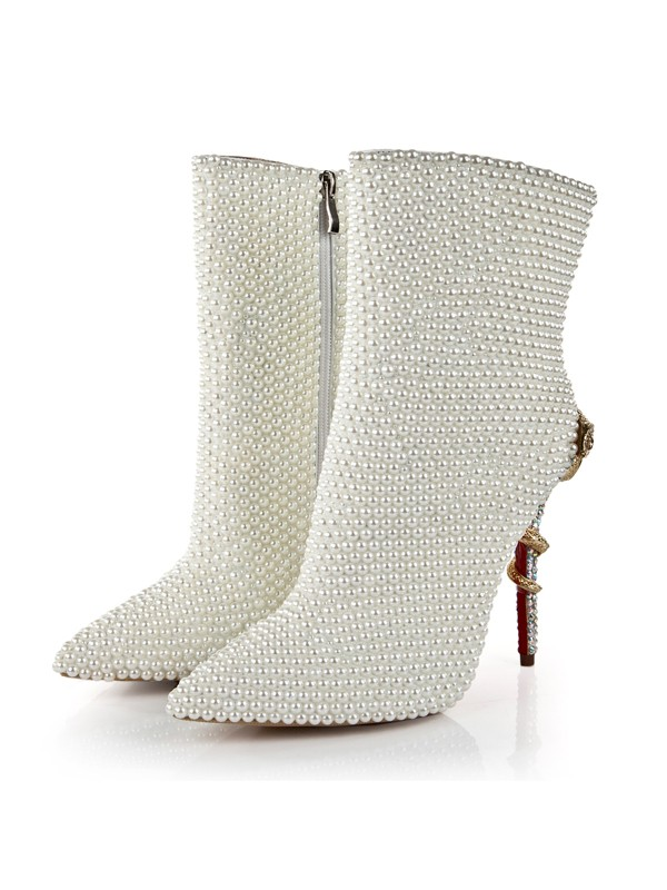 Bonnyin Patent Leather Pearls Pointed Toe Boots