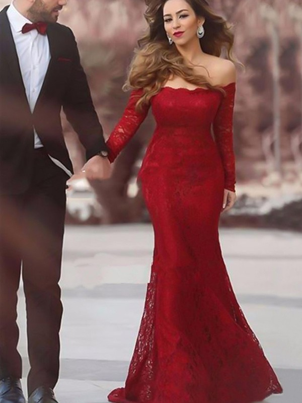 Red Lace Off-the-Shoulder Trumpet/Mermaid Floor-Length Dresses