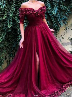 Burgundy Tulle Off-the-Shoulder A-Line/Princess Sweep/Brush Train Dresses