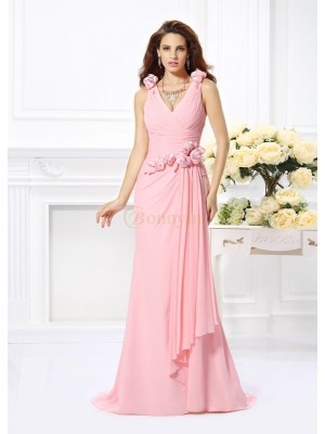 Pink Chiffon V-neck Trumpet/Mermaid Sweep/Brush Train Bridesmaid Dresses