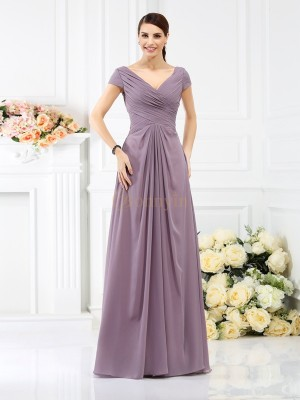 Brown Chiffon V-neck A-Line/Princess Floor-Length Bridesmaid Dresses