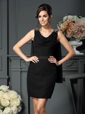 Black Chiffon Scoop Sheath/Column Short/Mini Mother of the Bride Dresses