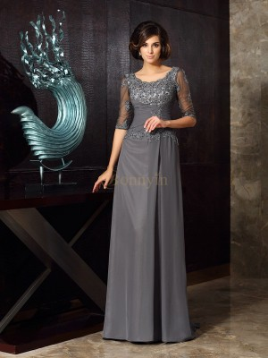 Grey Chiffon Scoop A-Line/Princess Sweep/Brush Train Mother of the Bride Dresses