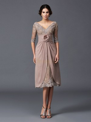 Brown Lace V-neck A-Line/Princess Tea-Length Mother of the Bride Dresses