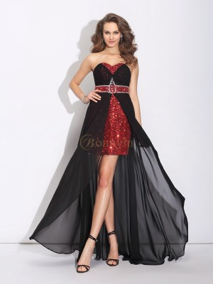 Black Chiffon Sweetheart A-Line/Princess Asymmetrical Prom Dresses