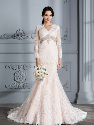 Pink Organza V-neck Trumpet/Mermaid Sweep/Brush Train Wedding Dresses