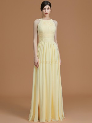 Daffodil Chiffon Halter A-Line/Princess Floor-Length Bridesmaid Dresses