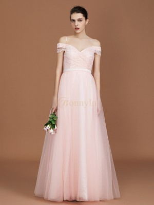 Pearl Pink Tulle Sweetheart A-Line/Princess Floor-Length Bridesmaid Dresses