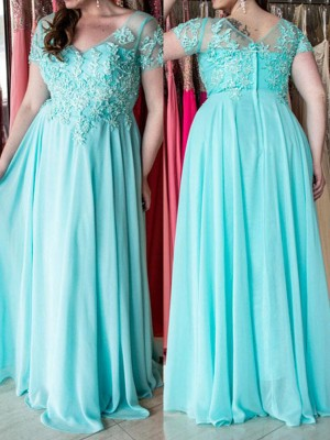 Blue Chiffon Sweetheart A-Line/Princess Floor-Length Plus Size Dresses