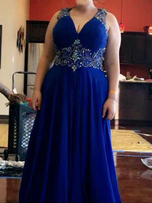 Royal Blue Chiffon V-neck A-Line/Princess Floor-Length Plus Size Dresses