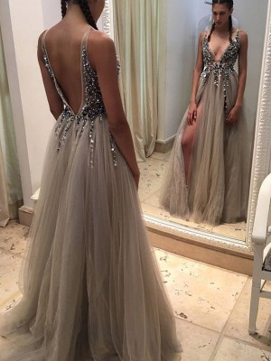 Champagne Tulle V-neck A-Line/Princess Sweep/Brush Train Prom Dresses