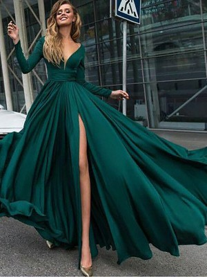 Dark Green Satin Chiffon V-Neck A-Line/Princess Floor-Length Dresses