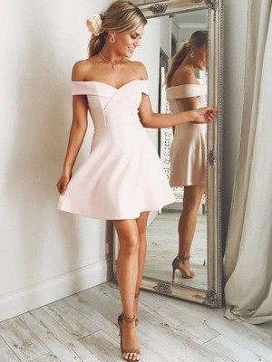 Pearl Pink Satin Off-the-Shoulder A-Line/Princess Short/Mini Dresses